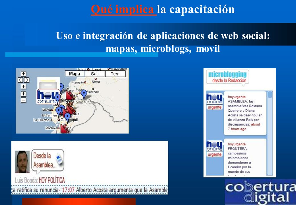 Qué implica la capacitación Uso e integración de aplicaciones de web social: mapas, microblogs, movil