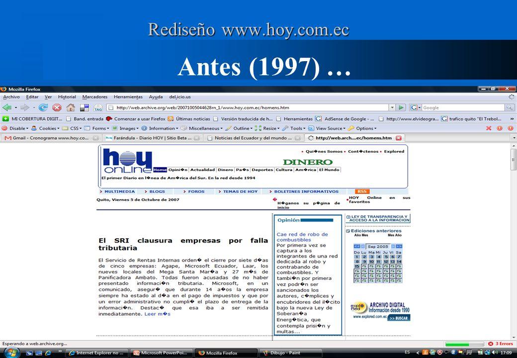 Antes (1997) … Páginas excluidas (eficencia) Rediseño www.hoy.com.ec