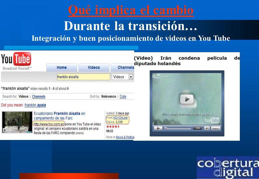 Qué implica el cambio Durante la transición… Integración y buen posicionamiento de videos en You Tube