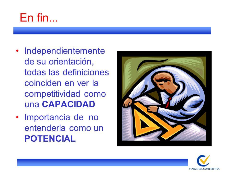 En fin... Independientemente de su orientación, todas las definiciones coinciden en ver la competitividad como una CAPACIDAD.