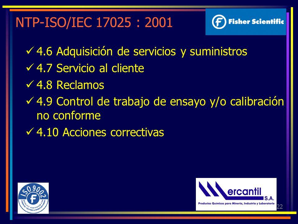 NTP-ISO/IEC 17025 : 2001 4.6 Adquisición de servicios y suministros