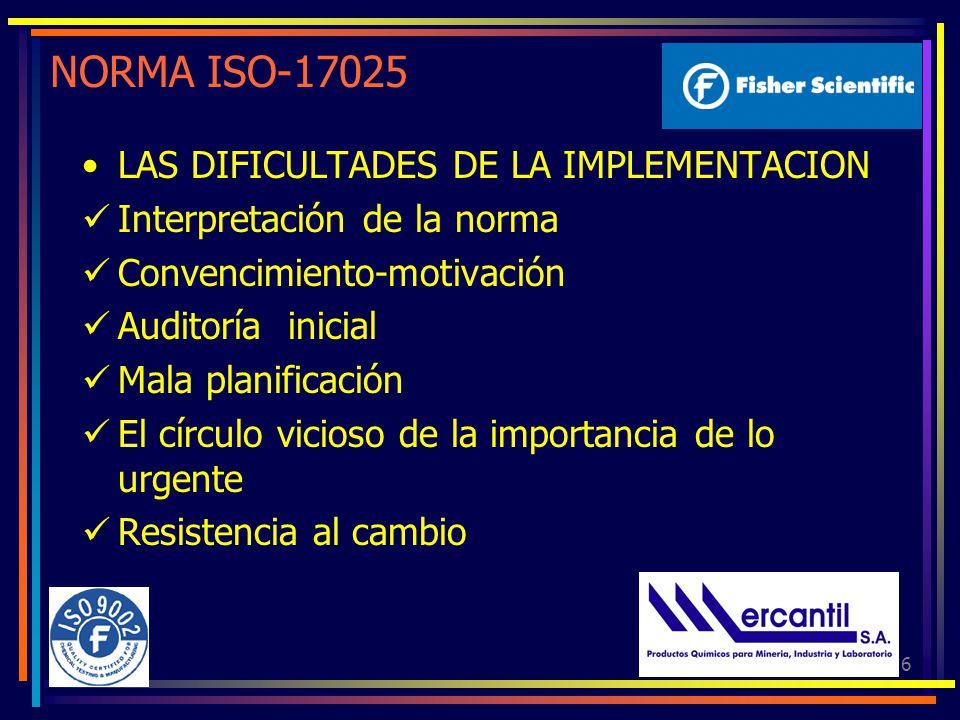 NORMA ISO-17025 LAS DIFICULTADES DE LA IMPLEMENTACION
