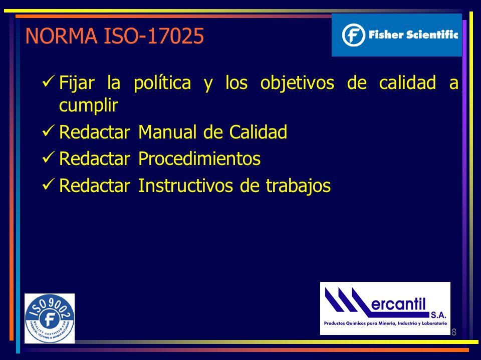 NORMA ISO-17025 Fijar la política y los objetivos de calidad a cumplir