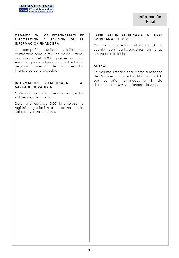 Información Final. CAMBIOS EN LOS RESPONSABLES DE ELABORACION Y REVISION DE LA INFORMACION FINANCIERA.