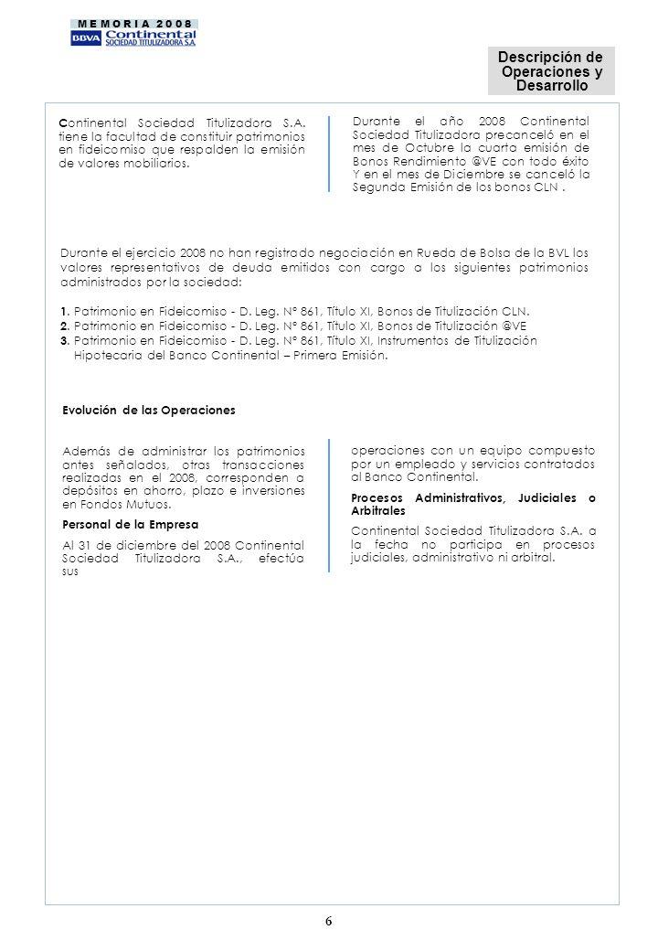 Descripción de Operaciones y Desarrollo