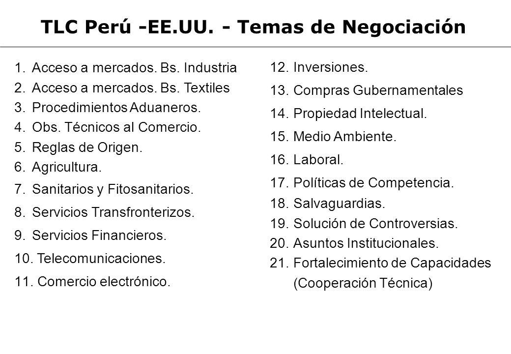 TLC Perú -EE.UU. - Temas de Negociación