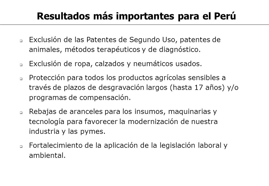 Resultados más importantes para el Perú