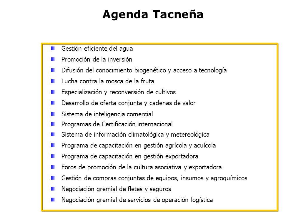 Agenda Tacneña Gestión eficiente del agua Promoción de la inversión