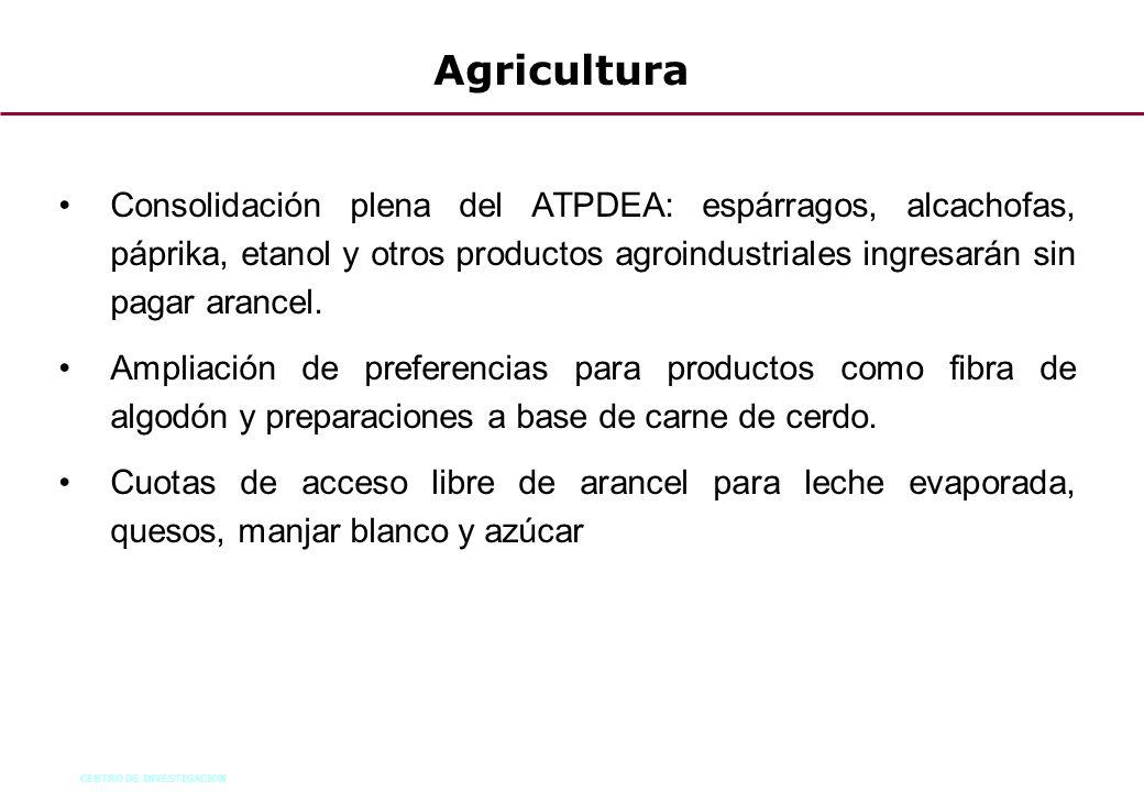Agricultura Consolidación plena del ATPDEA: espárragos, alcachofas, páprika, etanol y otros productos agroindustriales ingresarán sin pagar arancel.