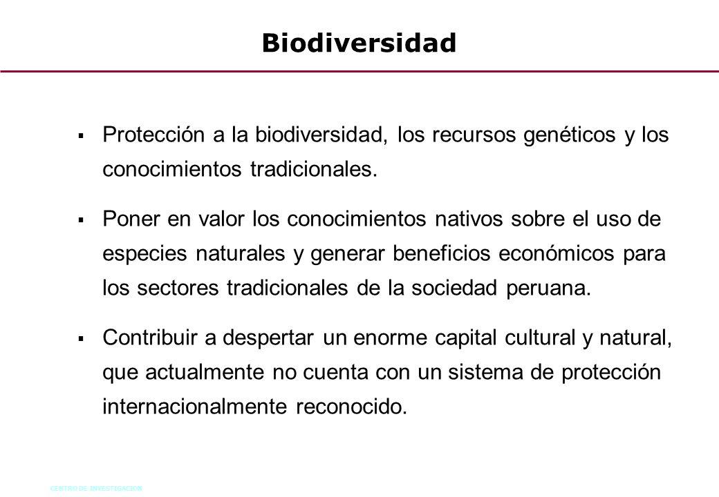 Biodiversidad Protección a la biodiversidad, los recursos genéticos y los conocimientos tradicionales.