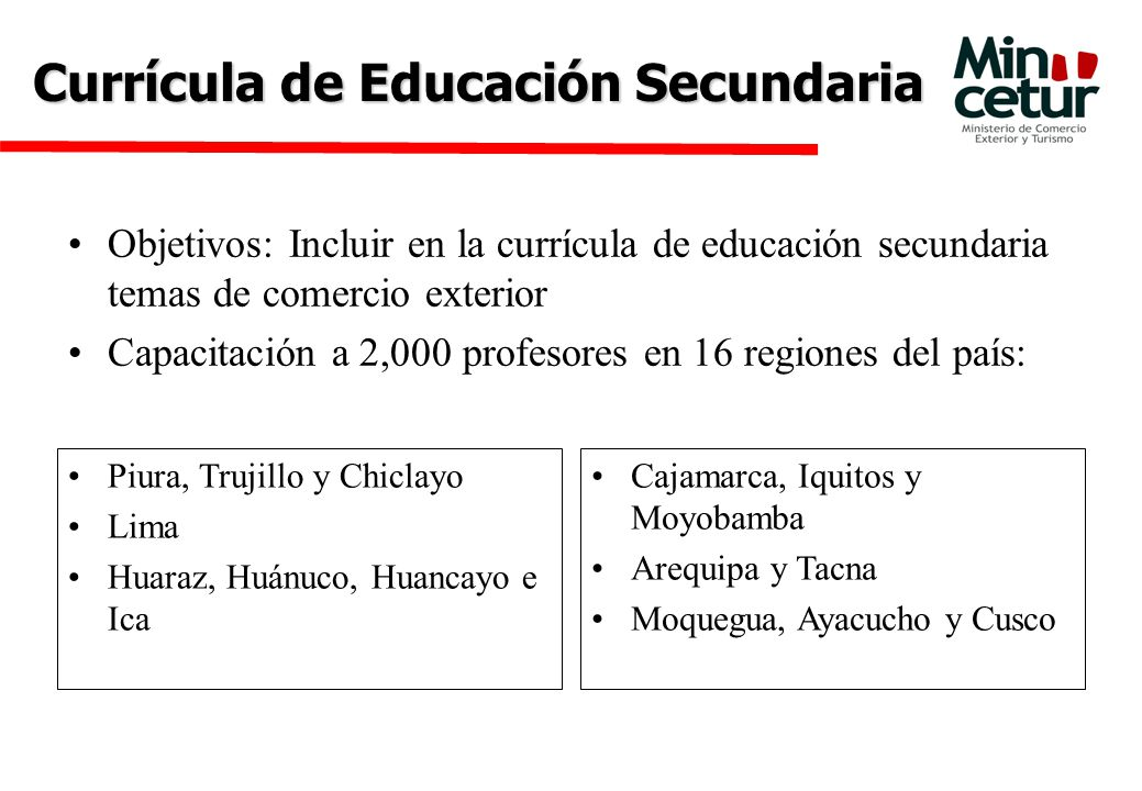 Currícula de Educación Secundaria