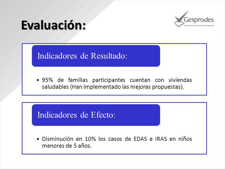 Evaluación: Indicadores de Resultado: Indicadores de Efecto:
