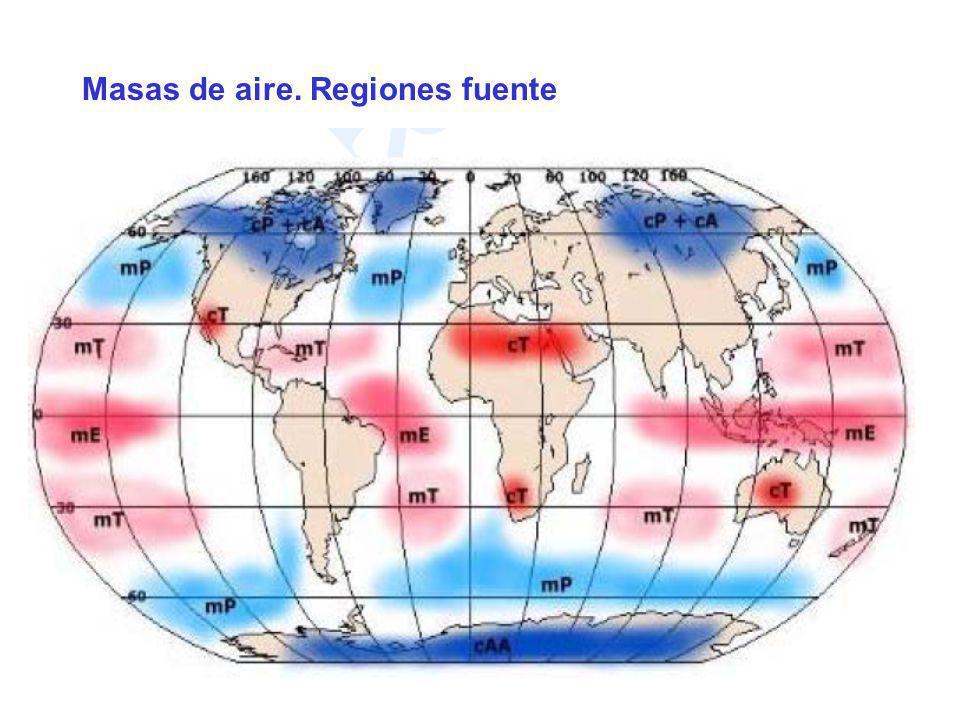 Masas de aire. Regiones fuente