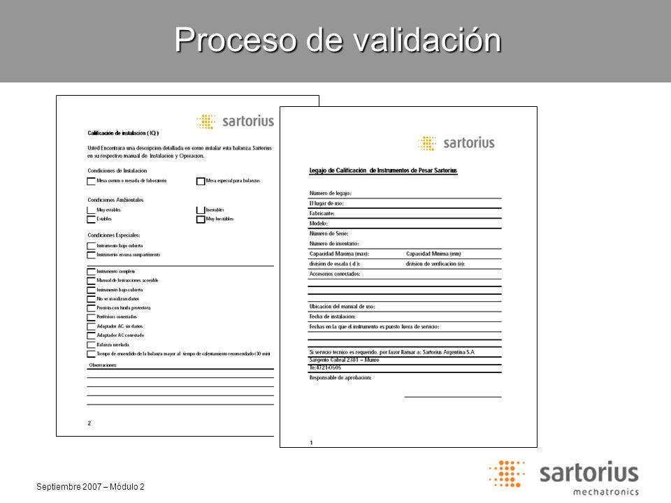 Proceso de validación Selección de clase de pesa
