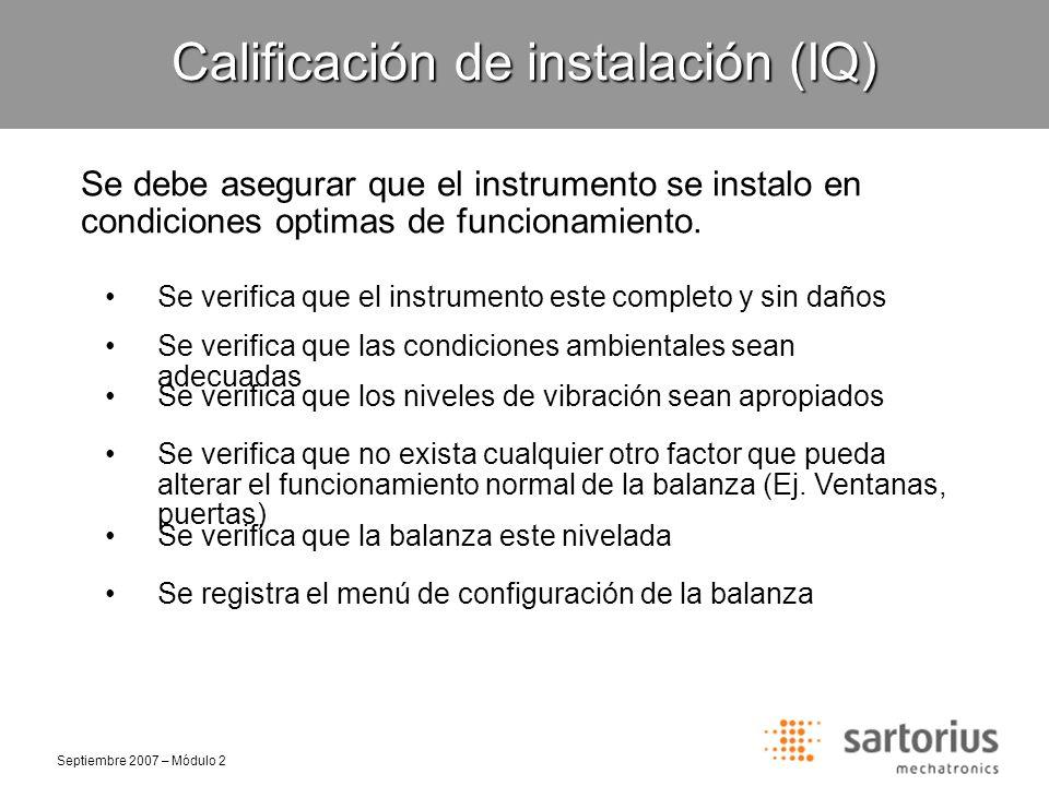 Calificación de instalación (IQ)