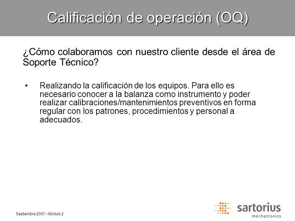 Calificación de operación (OQ)