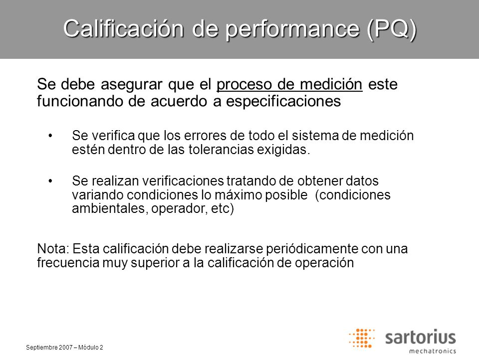 Calificación de performance (PQ)