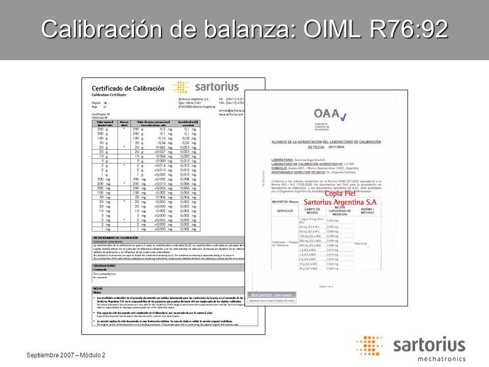 Calibración de balanza: OIML R76:92