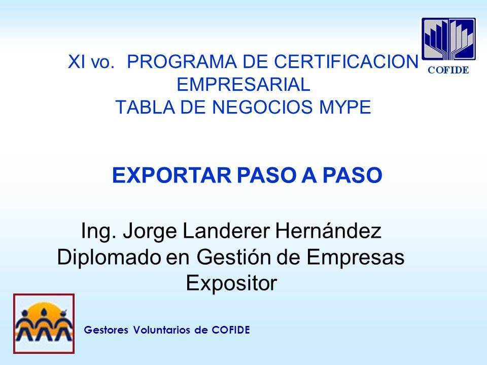 XI vo. PROGRAMA DE CERTIFICACION EMPRESARIAL TABLA DE NEGOCIOS MYPE
