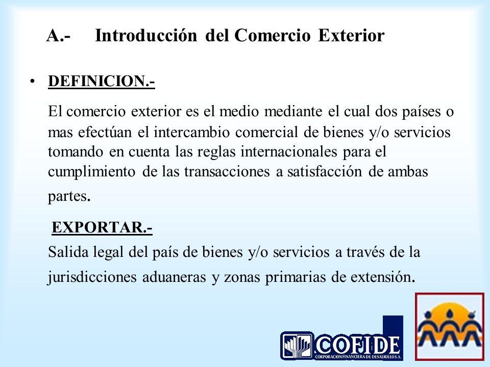 A.- Introducción del Comercio Exterior