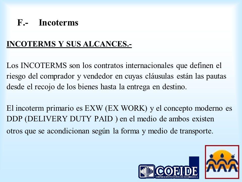 F.- Incoterms INCOTERMS Y SUS ALCANCES.-