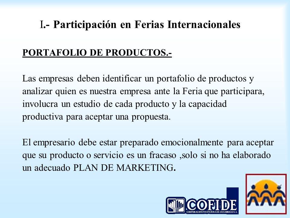 I.- Participación en Ferias Internacionales