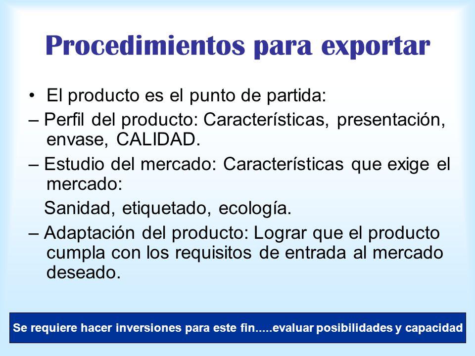 Procedimientos para exportar