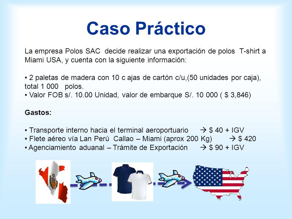 Caso Práctico La empresa Polos SAC decide realizar una exportación de polos T-shirt a Miami USA, y cuenta con la siguiente información:
