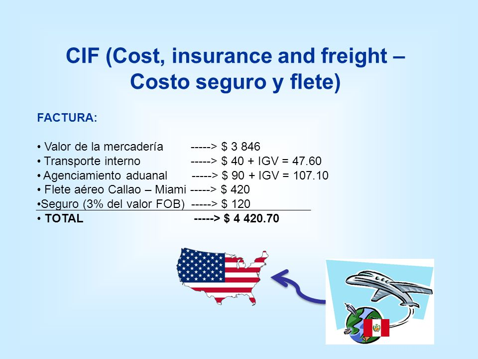 CIF (Cost, insurance and freight – Costo seguro y flete)