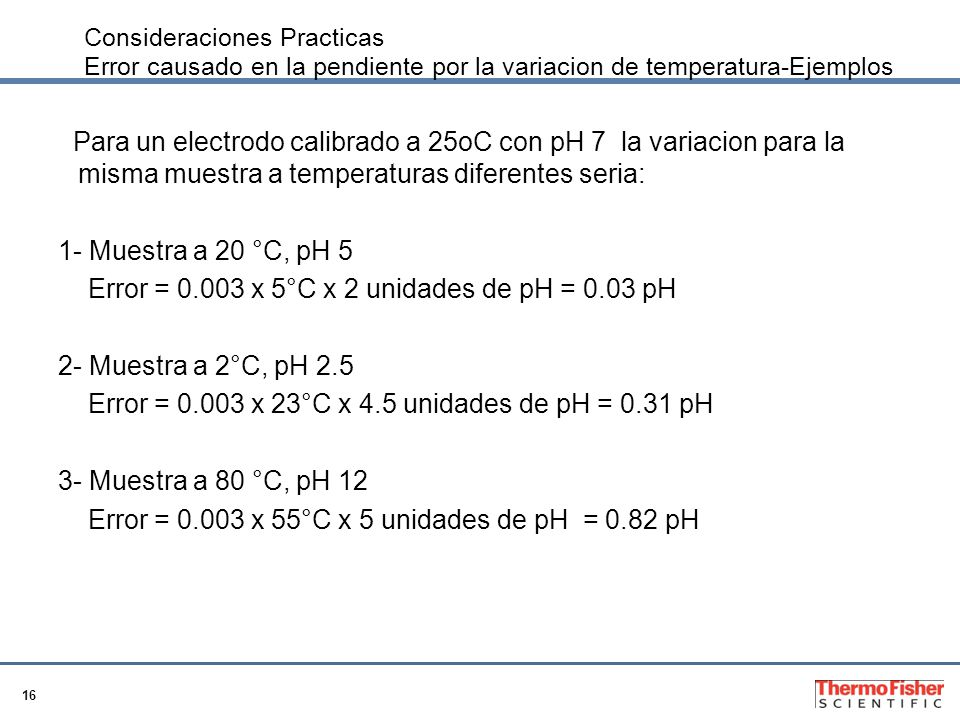 Error = 0.003 x 5°C x 2 unidades de pH = 0.03 pH