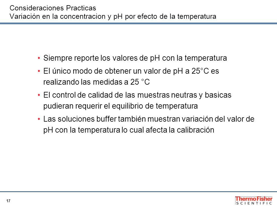 Siempre reporte los valores de pH con la temperatura