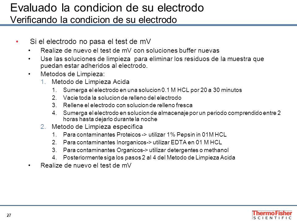 Evaluado la condicion de su electrodo Verificando la condicion de su electrodo