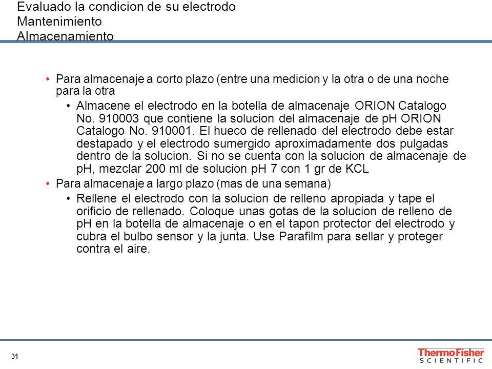 Evaluado la condicion de su electrodo Mantenimiento Almacenamiento