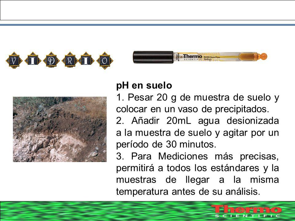 pH en suelo 1. Pesar 20 g de muestra de suelo y colocar en un vaso de precipitados.