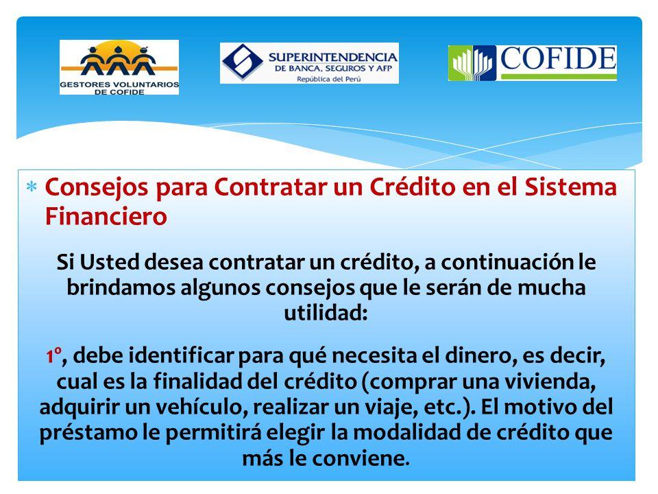 Consejos para Contratar un Crédito en el Sistema Financiero