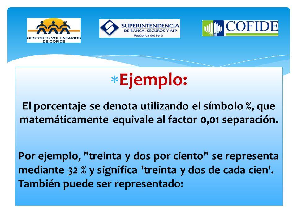 Ejemplo: El porcentaje se denota utilizando el símbolo %, que matemáticamente equivale al factor 0,01 separación.