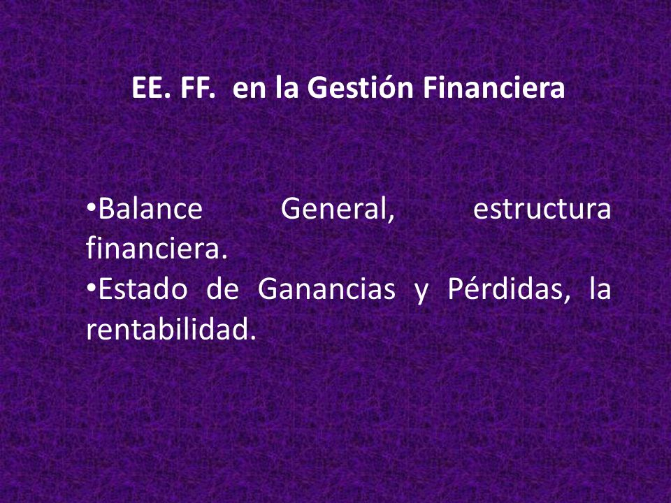 EE. FF. en la Gestión Financiera