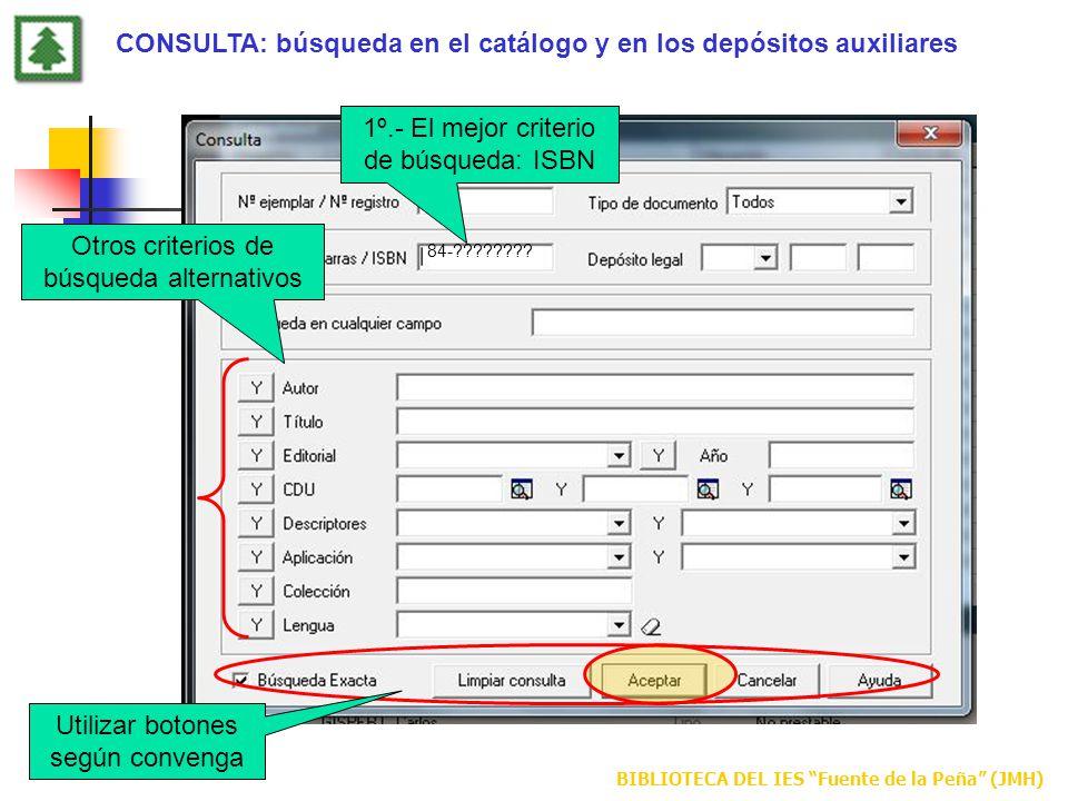 CONSULTA: búsqueda en el catálogo y en los depósitos auxiliares