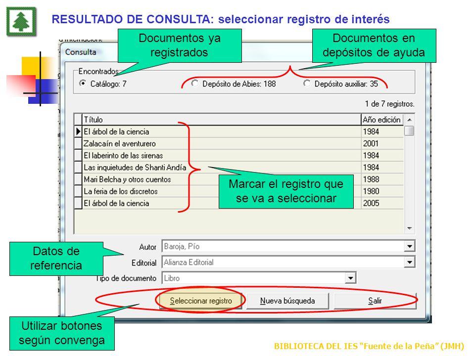 RESULTADO DE CONSULTA: seleccionar registro de interés
