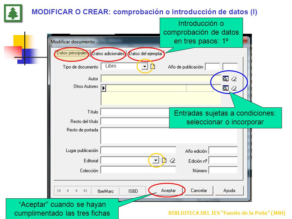 MODIFICAR O CREAR: comprobación o introducción de datos (I)
