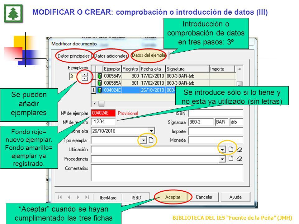 MODIFICAR O CREAR: comprobación o introducción de datos (III)