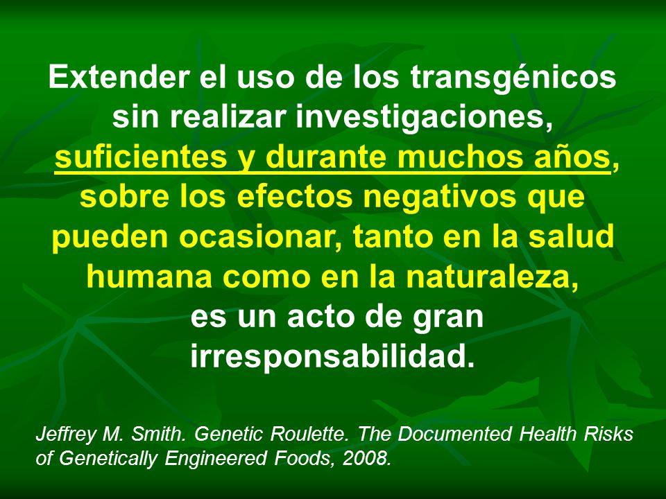 Extender el uso de los transgénicos sin realizar investigaciones,
