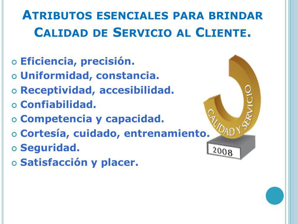 Atributos esenciales para brindar Calidad de Servicio al Cliente.