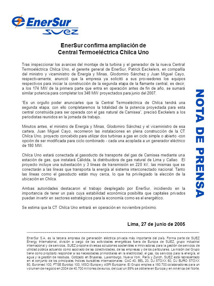 EnerSur confirma ampliación de Central Termoeléctrica Chilca Uno