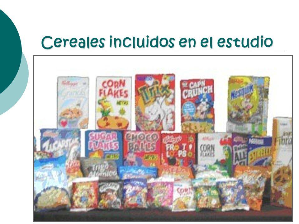 Cereales incluidos en el estudio