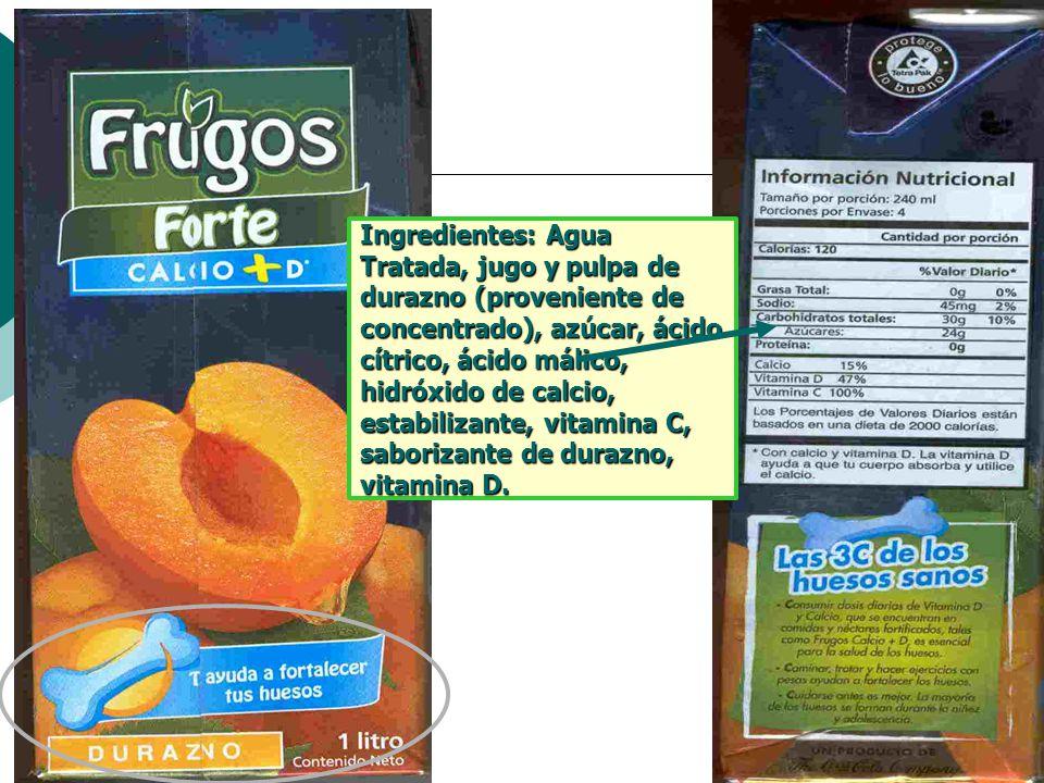 Ingredientes: Agua Tratada, jugo y pulpa de durazno (proveniente de concentrado), azúcar, ácido cítrico, ácido málico, hidróxido de calcio, estabilizante, vitamina C, saborizante de durazno, vitamina D.