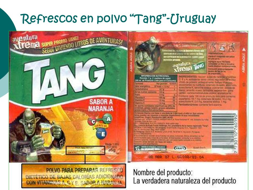 Refrescos en polvo Tang -Uruguay