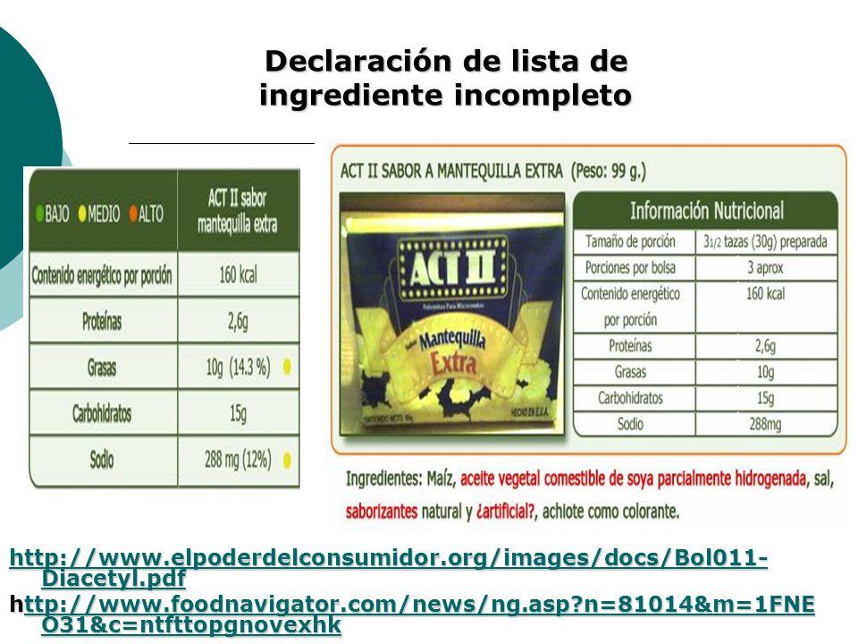 Declaración de lista de ingrediente incompleto
