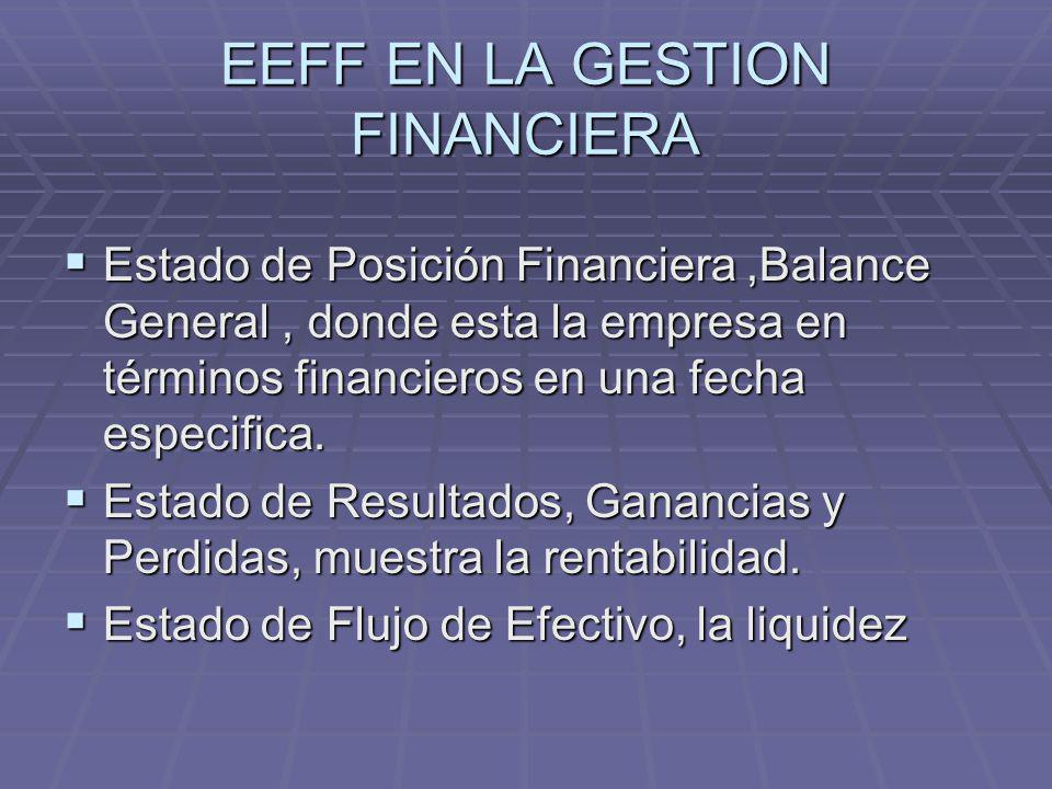 EEFF EN LA GESTION FINANCIERA