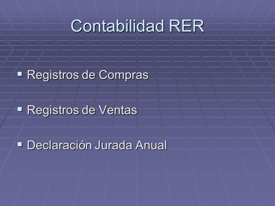 Contabilidad RER Registros de Compras Registros de Ventas